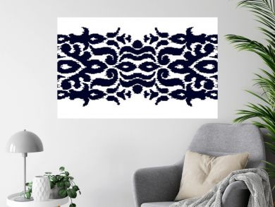 Colorful ikat stripe pattern in vintage ethnic style on white background. Baroque seamless ornament. Modern vector design. Creative oriental embroidery.