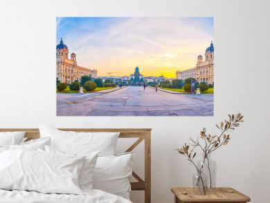 Panorama of Maria Theresien Platz in Vienna, Austria