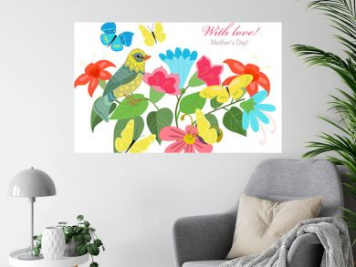 cute invitation card with colorful flowers and pretty bird for y