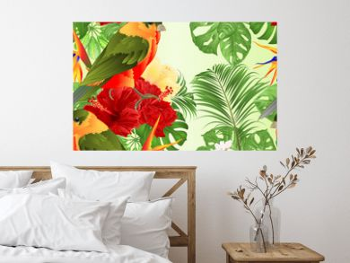 Seamless texture tropical bird cute small  funny  bird and red hibiscus and Strelitzia reginae monstera palm watercolor style on a white background vintage vector illustration editable hand draw