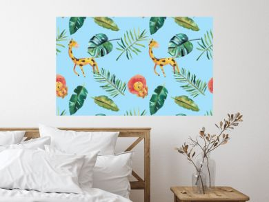 Hand-drawn watercolor seamless pattern. Green tropical leaves and wild animals