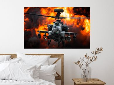 A AH-64 Apache attack helicopter in front of a large explosion.