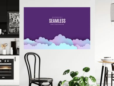 Night sky seamless pattern in paper cut style. Cut out 3d background with violet and blue gradient cloudy landscape papercut art. Cute origami clouds repetitive border. Vector card illustration