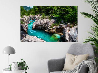 Emerald color Soca river with spectacular rocky canyon, Bovec, Slovenia