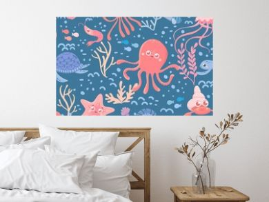 Marine seamless pattern of sea life. Cute cartoon ocean and sea animals. Blue background. Vector collection