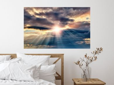 dramatic sunset sky landscape background natural color of evening cloudscape panorama with setting sun rays coming through clouds ultra wide panoramic view