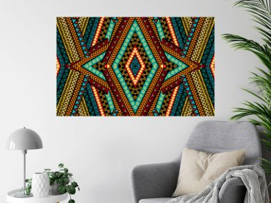 Geometrical patchwork background with ethnic motifs