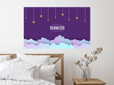 Night sky seamless pattern in paper cut style. Cut out 3d background with violet and blue gradient cloudy landscape with stars on rope papercut art. Cute vector origami clouds repetitive border