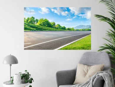 Asphalt road and green tea mountain nature landscape on sunny day,panoramic view.
