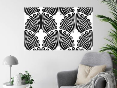 Art Deco Pattern. Vector black white background