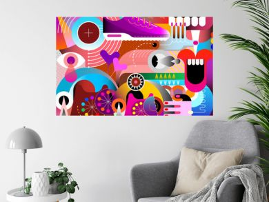 Abstract art vector design with random objects and geometric shapes. Colored graphic illustration.