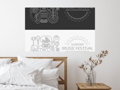 Line art isolated on a dark grey and on a white backgrounds Summer Music Festival vector illustration. Poster design with silhouettes of different musical instruments, equipment and text.