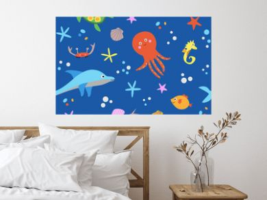 Cute seamless pattern with sea animals vector illustration