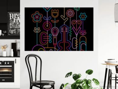 Flowers and Musical Instruments Neon vector design