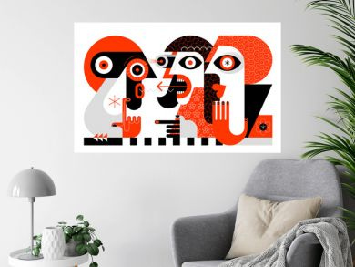 Red, black and light grey colors isolated on a white background Asking for directions vector illustration. Abstract modern artwork of three people.