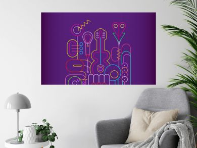 Neon colors isolated on a dark violet background Music Instruments Design vector illustration. Line art silhouettes of guitar, saxophone, piano keyboard, trumpet, microphone and gramophone.