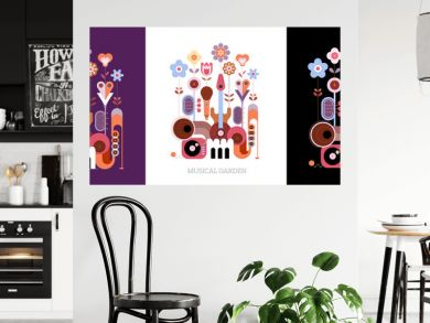 3 options of colored design isolated on a violet / on a white / on a black background Flowers and Musical Instruments vector illustration. Blossoming flowers grow from music instruments.