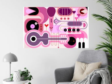 Abstract music background. Flat design of different musical instruments, vector illustration. Acoustic guitar, saxophone, piano keys, trumpets, microphone and gramophone.