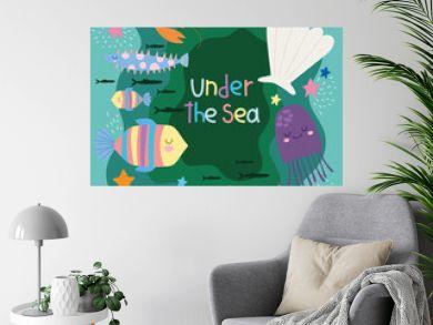 under the sea, world with different inhabitants wide marine life landscape cartoon
