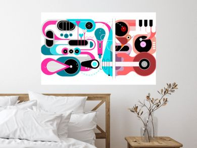 Abstract music background. Flat design of various musical instruments and singing bird, vector illustration. Acoustic guitar, saxophones, piano keys, trumpets, microphone and gramophone.