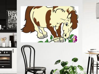 cartoon pony with flower