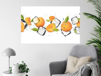 Apricots with ice cubes, isolated on white background