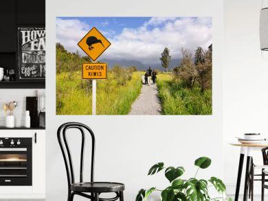 Caution kiwi panel on a trail - New Zealand