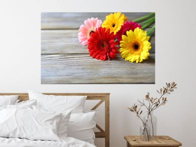 multicolored gerbera on wooden background