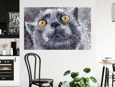 Painting -- gray cat