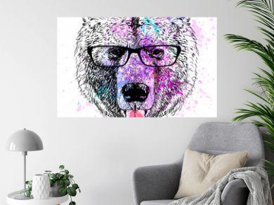 bear character colorful portrait