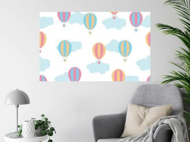 Seamless background with cute colorful hot air balloons on white background suitable for children wallpaper, scrap paper, and postcard