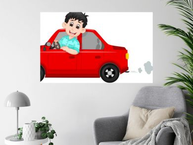 handsome driver cartoon up red car