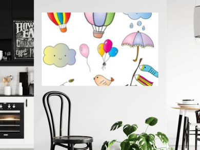 Set of cute vector and illustrator with pastel color air balloons, umbrellas, cute cloud, colorful balloon, lovely bird, wind and japanese style fags