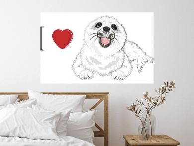 seal, white seal, baby seal, animal, ice, cold, snow,  fur, illustration, white, cute, funny, winter, nature, background, nature, isolated, zoo, ocean, sea, red, love, heart, i love seal
