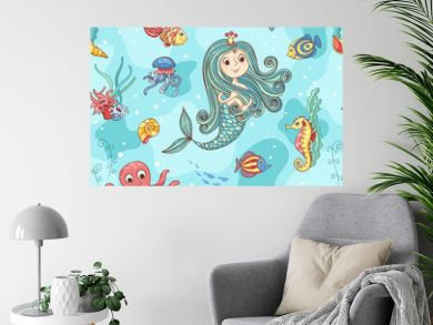 Seamless pattern with mermaid princess