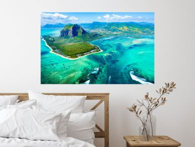 Aerial view of Mauritius island reef