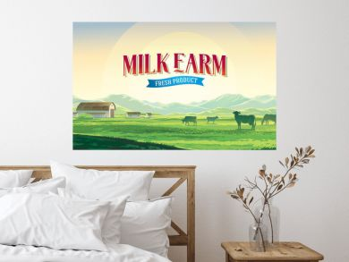 Summer rural landscape with cows and farm, dawn above hills, with tematic label.