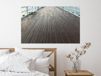 Wooden pier at sea shore, morning view, Gdynia Orlowo poland