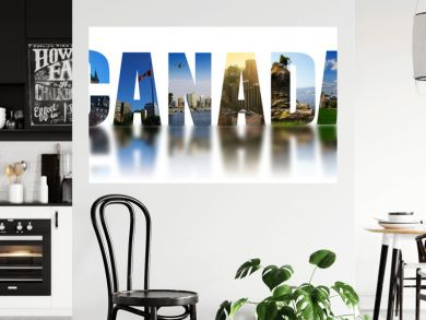 Canada collage reflected on white