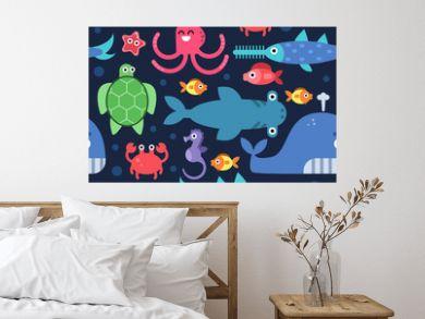 Seamless pattern of sea underwater life. Vector flat illustrations