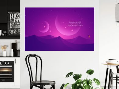 Minimalist vector landscape background, abstract sunset surface and a planet for your design.