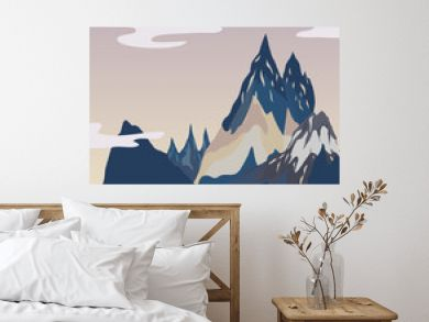 Landscapes of mountain top illustration