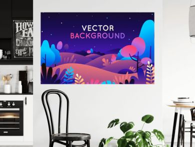 Vector illustration in trendy flat style and bright vibrant gradient colors - background with copy space for text - plants, leaves, trees