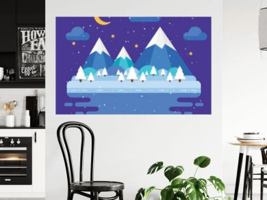 Winter trendy landscape in flat design, trees, moon and stars, mountains. Night vector illustration.