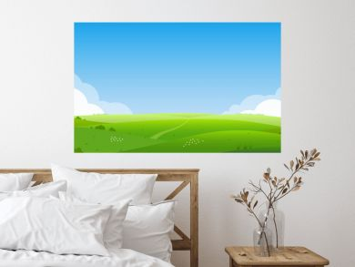 Summer landscape background. Field or meadow with green grass, flowers and hills. Horizon line with blue sky and clouds. Farm and countryside scenery. Vector illustration.