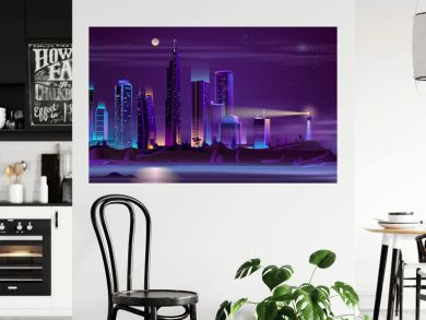 Modern metropolis buildings on sea or ocean island steep shore with beach night landscape cartoon vector in neon colors. Modern city skyline with futuristic skyscrapers and lighthouse illustration