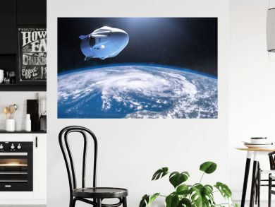 SpaceX Crew Dragon spacecraft in low-Earth orbit. Elements of this image furnished by NASA.