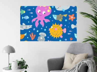 Octopus and fishes underwater creatures. Cute seamless pattern with sea animals. Vector background with cute marine characters