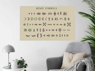 Vector set of line art symbols for logo design and lettering in boho style