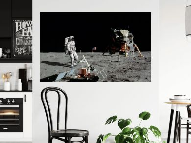 3D rendering. Astronaut walking on the moon. CG Animation. Elements of this image furnished by NASA.